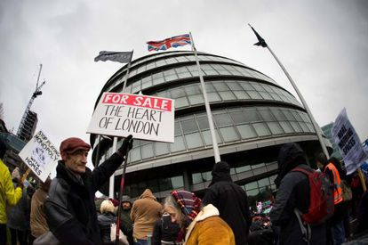 Protesta contra la política de vivienda y los desalojos en Londres, en enero.