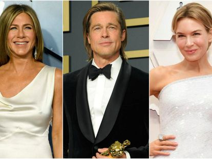Los actores Jennifer Aniston, Brad Pitt y Renee Zellweger.
