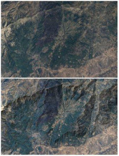 Sierra de Gredos. En la imagen superior, tal y como lo capta el satélite, en la inferior, el mismo relieve tratado e invertido.