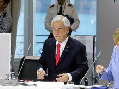 El presidente de Chile, Sebastián Piñera, participa el 26 de agosto de la cumbre de presidentes del G7 que se realizó en Biarritz, Francia.
