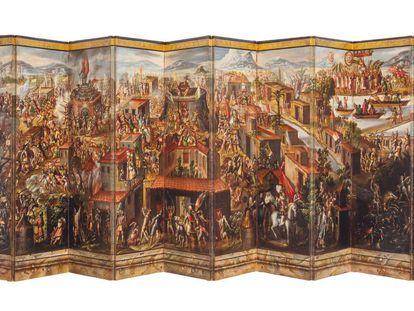 Biombo de la conquista de México (1675-1692), expuesto en el Museo del Prado hasta el 26 de septiembre. / MUSEO DEL PRADO