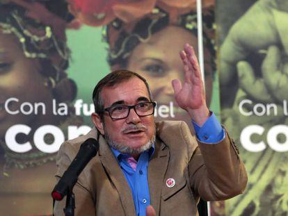 El líder del partido FARC, Rodrigo Londoño, 'Timochenko', durante una comparecencia.
