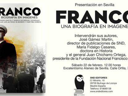 Invitación a la presentación de la biografía de Franco en el Ateneo de Sevilla.