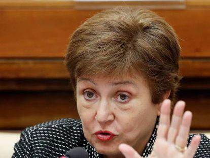 Kristalina Georgieva, directora gerente del FMI, en una comparecencia el pasado febrero.