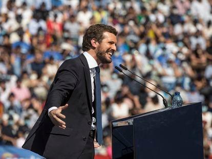 El presidente del PP, Pablo Casado, durante la Convención Nacional del PP, en la Plaza de Toros de Valencia, el pasado sábado.