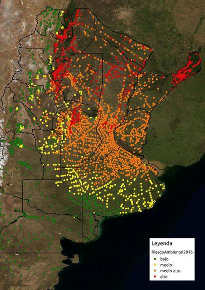 Fotografía de la Comisión de Actividades Espaciales de Argentina del pasado día 19 que muestra el mapa de riesgo ambiental de dengue.