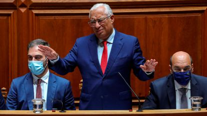 Lisbon (Portugal), 26/10/2021.- Portuguese Prime Minister Antonio Costa addresses representatives during the debate on the general assessment of the State Budget for 2022 (OE2022), at the Portuguese Parliament in Lisbon, Portugal, 26 October 2021. If the parties maintain their announced vote, the Government's budget proposal for 2022 is likely to be voted down on 27 October as a whole, with the PSD, Bloco de Esquerda, PCP, CDS-PP, PEV, Iniciativa Liberal, and Chega voting against. Only PS votes in favor, and the PAN and non-attached members Joacine Katar-Moreira and Cristina Rodrigues abstain. (Lisboa) EFE/EPA/MIGUEL A. LOPES