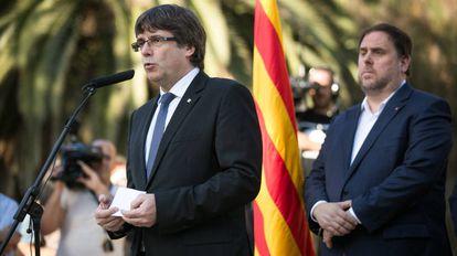 Discurso de Carles Puigdemont durante el homenaje a Lluis Companys este domingo.