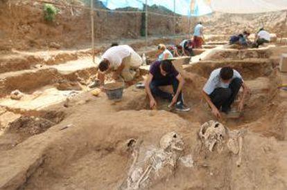 Excavaciones en las fosas comunes de la Guerra Civil en el antiguo cementerio de San Rafael de Málaga.