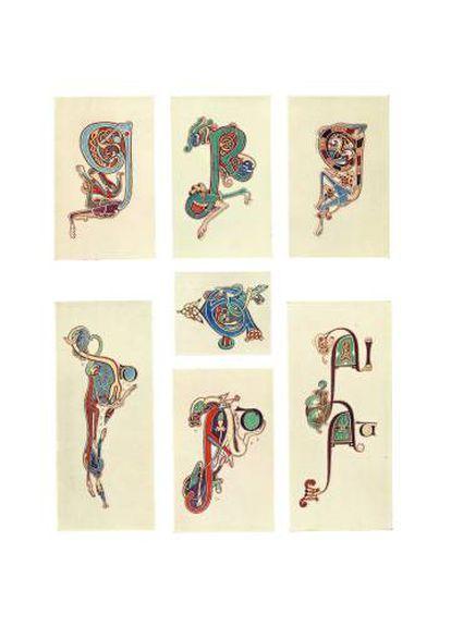 Copias detalladas de las iniciales del manuscrito hechas con acuarela por Helen Campbell D'Olier y reproducidas en el 'Libro de Kells' de Sullivan de 1914.
