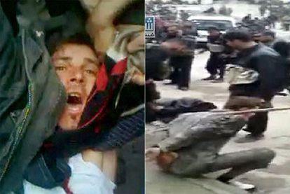 Dos imágenes de la represión. A la izquierda, un manifestante herido en Homs. A la derecha, un agente golpea a un opositor en Baida.