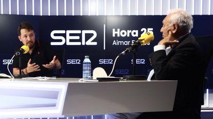 Pablo Iglesias y José Manuel García-Margallo debaten en 'Hora 25' de la cadena SER.