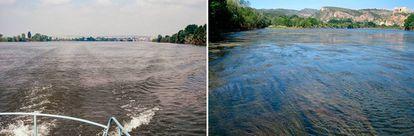 A la izquierda, el río Ebro en 1992, a la derecha el río Ebro en 2009.