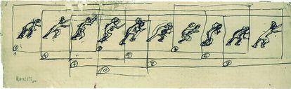 'Estudio de hombre corriendo'. 1964. Dibujo a tinta sobre papel.  