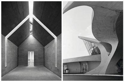 A la izquierda, Casa de Piedra / Interni Think Tank, Milán, Italia (John Pawson, 2010). A la derecha, Terminal de Trans World Airlines (TWA), en el aeropuerto JFK de Nueva York (Eero Saarinen and Associates, 1962).