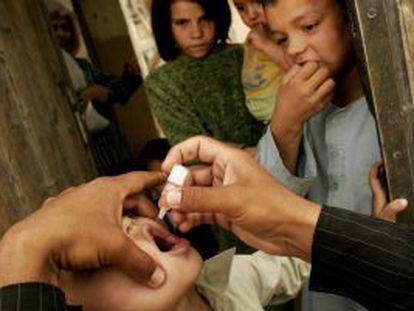 Vacunación de niños contra la polio en Kabul (Afganistán).