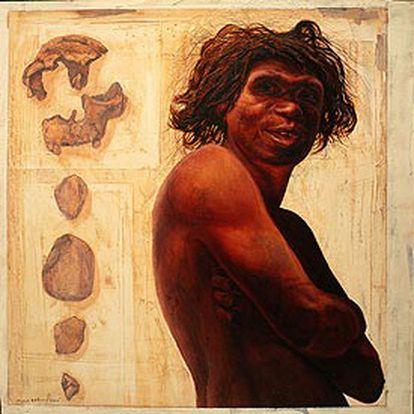 Dibujo del <i>Homo antecessor, </i>sin pelo corporal, de hace un millón de años.