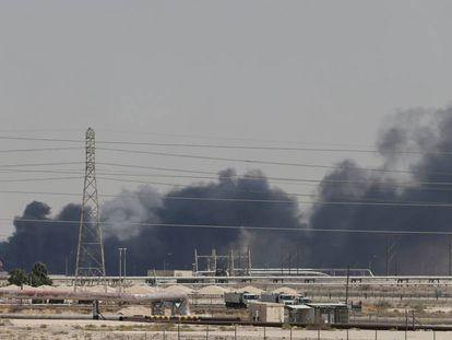 Instalaciones de Aramco, en la ciudad de Abqaiq, tras el ataque el pasado 14 de septiembre.