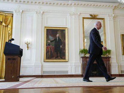 El presidente Joe Biden, el lunes en la Casa Blanca tras su mensaje a la nación sobre Afganistán.