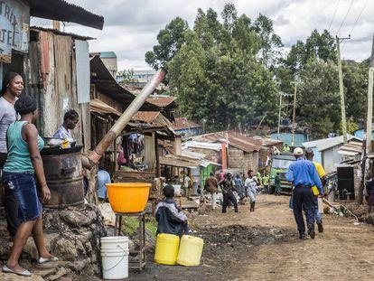 Asentamiento informal de Kibera en Nairobi, Kenia.