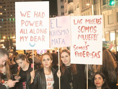 Imagen de la última manifestación del día de la Mujer en Madrid.