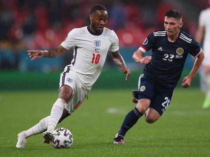 Sterling durante el partido entre Inglaterra y Escocia, el pasado viernes.