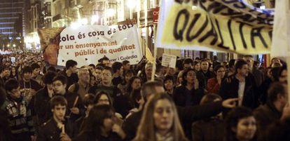Manifestación contra los recortes educativos en Valencia.