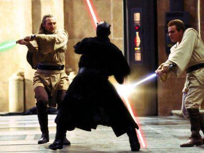 La escena del combate de Qui-Gong y Obi-Wan contra Maul en 'La amenaza fantasma'.