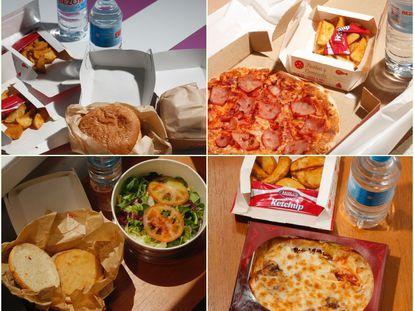 Los menús entregados por Telepizza el lunes, martes, miércoles y jueves pasado.