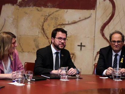 Elsa Artadi y Pere Aragonès, en la primera reunión del Govern.