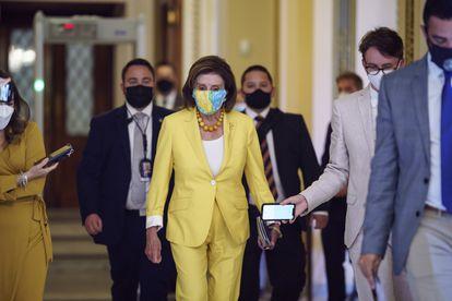 La presidenta de la Cámara de Representantes Nancy Pelosi en el Capitolio, Washington, el martes.