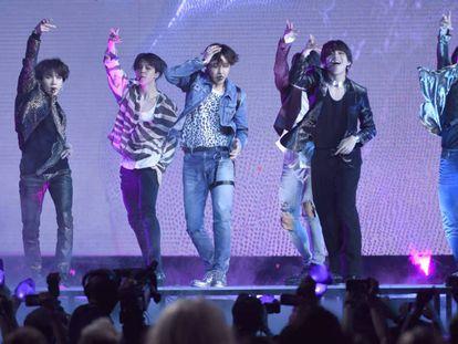 BTS en su actuación en la gala de los premios Billboard 2018 en Las Vegas.