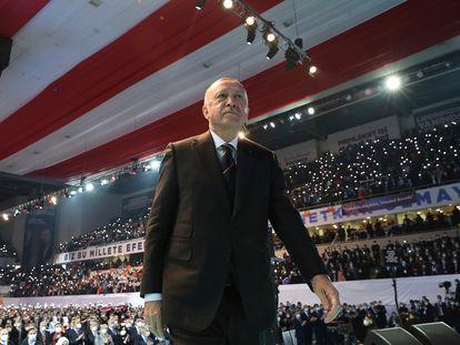 El presidente turco, Recep Tayyip Erdogan, el miércoles en un mitin en Ankara.