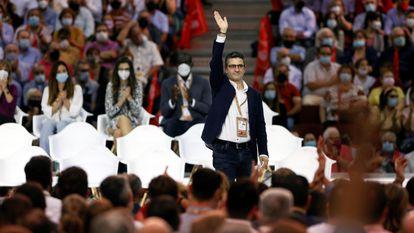 Félix Bolaños, en sus primeras declaraciones tras ser incluido en la nueva Ejecutiva del PSOE, este sábado en Valencia.