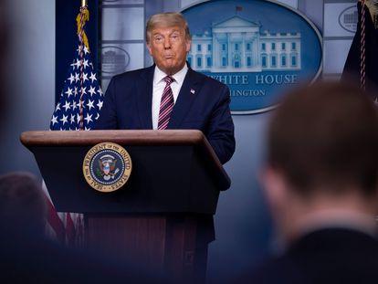 Donald Trump durante su discurso desde la Casa Blanca este jueves.