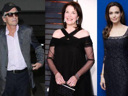 De izquierda a derecha: Michael Douglas, Sherry Lansing y Angelina Jolie.