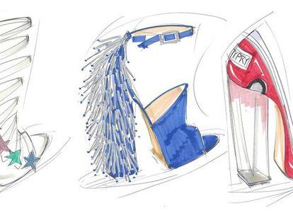 Bocetos de la colección de zapatos de Katy Perry.