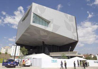 Uno de los cubos del CaixaForum Zaragoza.