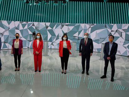 Los candidatos a las pasadas elecciones de la Comunidad de Madrid, en el único debate que mantuvieron todos el 21 de abril.