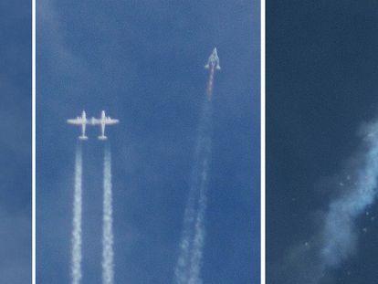 Secuencia de la nave Space Ship Two en el momento en el que se separa del avión nodriza, empieza a volar y estalla.