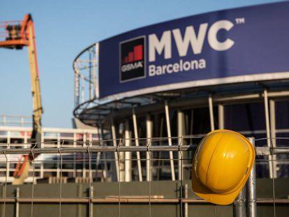 Recinto del Mobile World Congress (MWC) de Barcelona durante el desmantelamiento de las instalaciones.