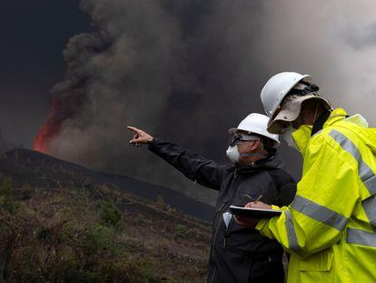La erupción en el volcán en La Palma, este miércoles.