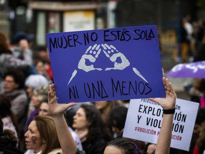 Manifestación contra la violencia de género en Madrid.