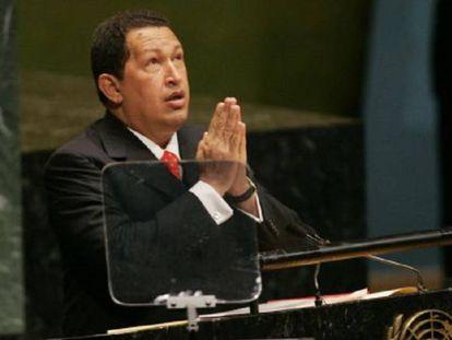 Hugo Chávez en la Asamblea General de la ONU en 2006.
