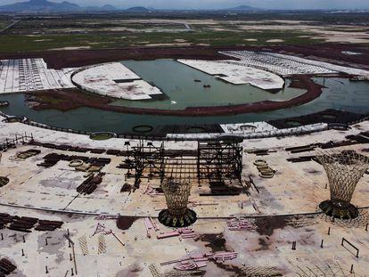 Fotografía de archivo de la estructura del aeropuerto en construcción e inundado en Ciudad de México el pasado septiembre.