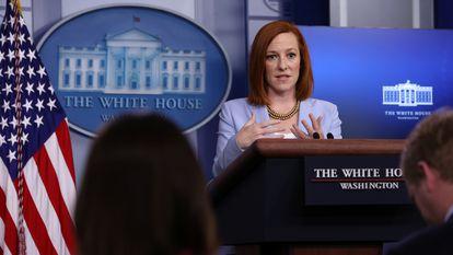 La portavoz de la Casa Blanca, Jen Psaki, este viernes durante su conferencia de prensa diaria.