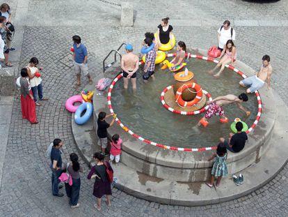 Fuente pública en Guimarâes (Portugal).