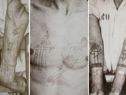 Varias imágenes de los tatuajes de presos brasileños y extranjeros de la colección del museo.