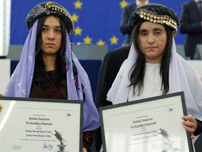 Las ganadoras del premio Sájarov, tras recoger el galardón.