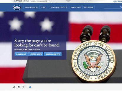 El mensaje que muestra la web en castellano de la Casa Blanca.